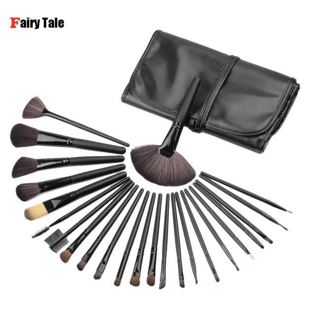 Pro 24 Unids Pinceles de Maquillaje Kit de Herramientas de Cosméticos Pincel Maquiagem Sombra de Ojos En Polvo Fundación Pincel de Maquillaje Cepillos Caso Negro