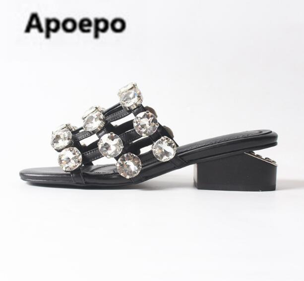 dc11417e70e22 sales 2018 summer women slippers white crystal women shoes sexy cut-out  Casual ladies sandals Rhinestone high heels shoes women