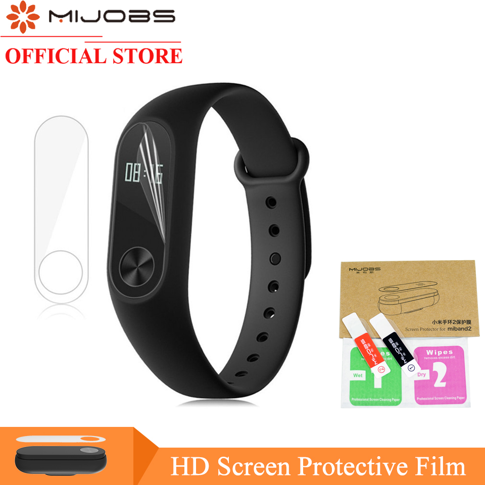 Mijobs 2pcs/pack For Xiaomi Mi Band 2 Strap Screen Protector Miband2 Mi Band 2 HD Ultra Thin Anti-scratch Screen Protective Film