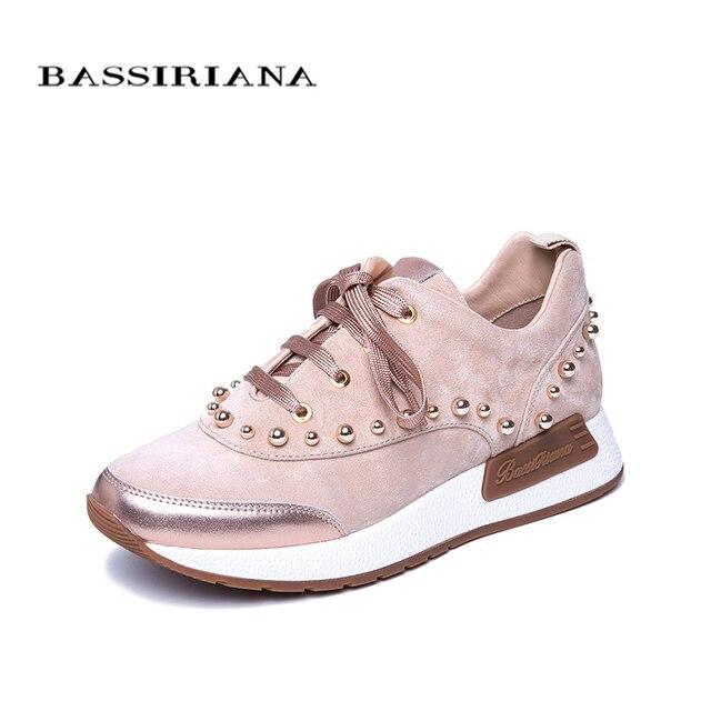 BASSIRIANA/Новинка 2019 г. весенняя женская обувь на плоской подошве из натуральной кожи, модная обувь на шнуровке на высоком каблуке, женская обувь, бесплатная доставка