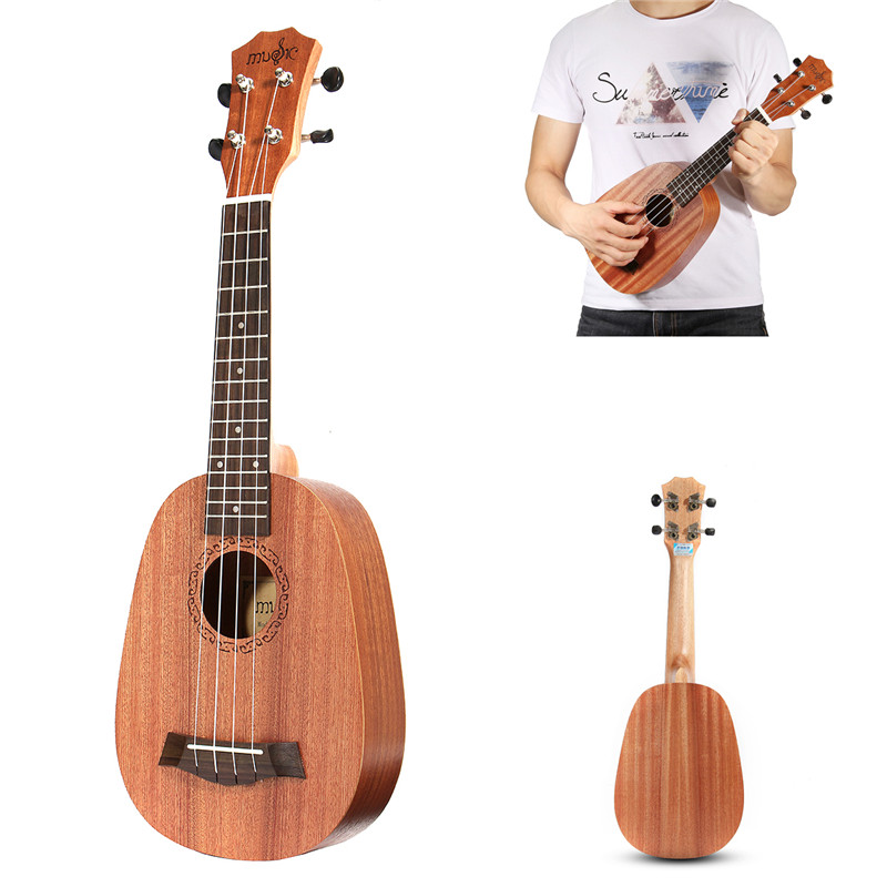 Zebra 21'' Pineapple Style Mahogany Hawaii Ukulele Uke Electric 4 Strings Bass Guitar Guitarra For Musical Stringed Instruments zebra 23 26 4 strings mahogany concert guitarra guitar rosewood fretboard bridge ukulele uke for musical stringed instruments