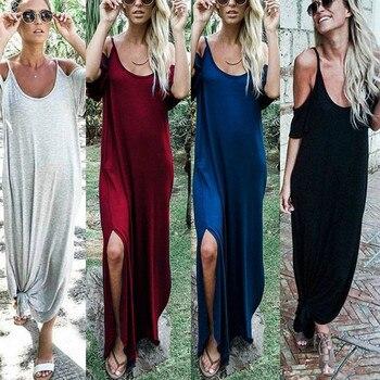 Sexy Boho largo Maxi vestido mujeres 2018 verano hombro frío Casual suelto Spaghetti vestido de tirantes Vestido de playa Slit Vestidos