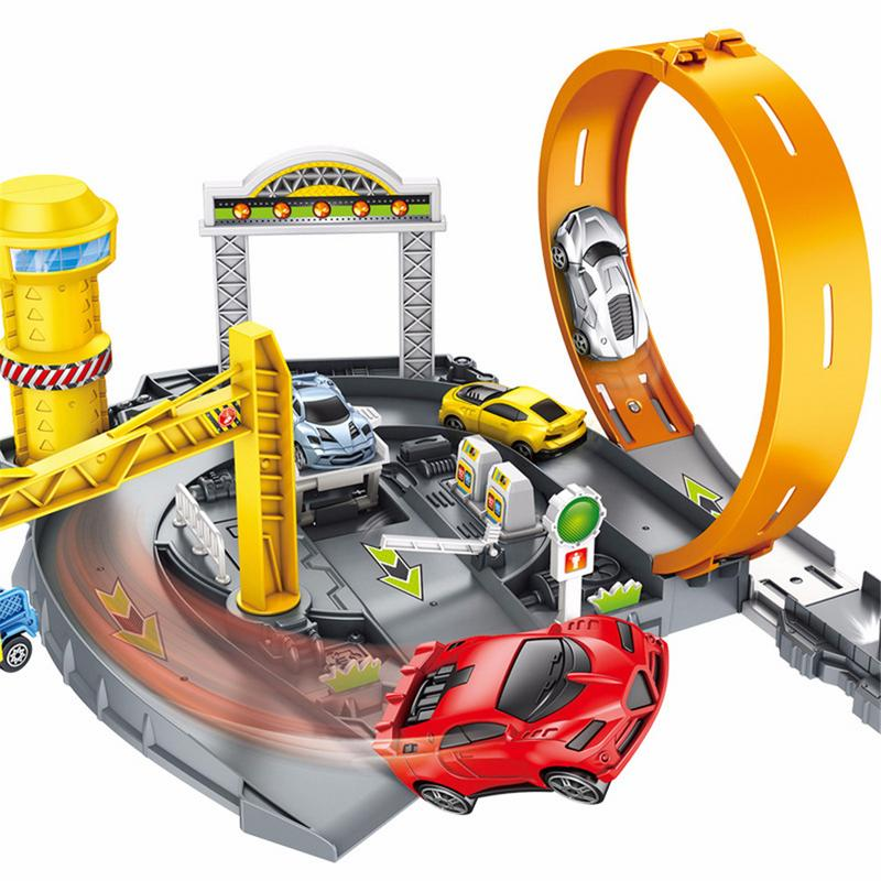 Toys For Children Multi-layer Assembly Track Toy Car Police Car Parking Lot Project Parking Bounce Parking Interactive Toy Gifts car parking lot toy model children assembled track parking garage toy diy assembled two story parking with tire carrying case