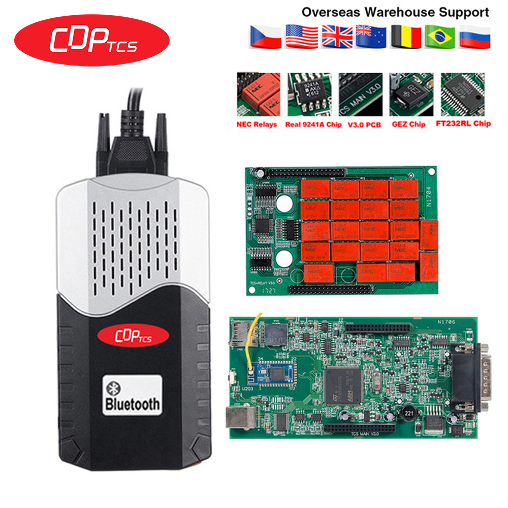 CDP TCS multidiag pro+ Bluetooth USB 2016.00 keygen V3.0 NEC relays obd2 scanner cars trucks OBDII diagnostic tool(China)