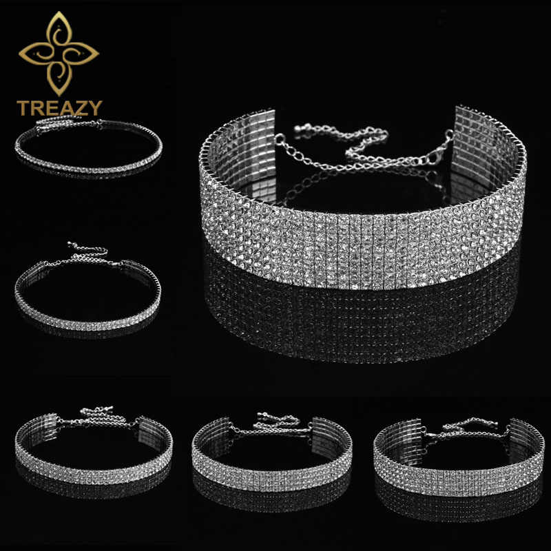 TREAZY Bridal Wedding Prom 1-5 Row Rhinestone Choker Chain Necklace for Women Diamante Crystal Choker Necklace Elastic Cord