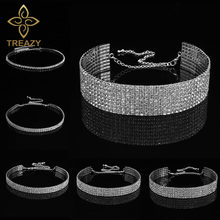 TREAZY Bridal Wedding Prom 1-5 Row Rhinestone Choker Chain Necklace for Women Diamante Crystal Choker Necklace Elastic Cord(China)