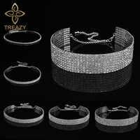 TREAZY para fiesta de boda y graduaciones 1-5 fila de diamantes de imitación gargantilla collar de cadena para mujeres Diamante gargantilla de cristal collar de cuerda elástica