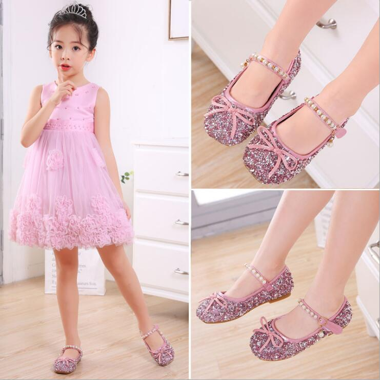 Children girl Glitter Hot drilling shoes Girls dance Shoes Flat Party Princess Shoes 25-35 pink sliver 339 TX01