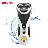 POVOS Fully Washable PQ8602 Professional Universal Voltage 100 240v LCD Mens Mans Electric Shaver Razor 1H