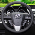 Carro roda steeing cobre Caso para Mazda 3 Novos modelos DIY genuíno couro de costura estilo do carro Anti-slip steering tampas de roda