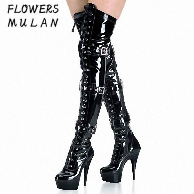 Sexy 15CM Super High Platform Women Long Boots Over The Knee Pointed Toe Black Patent Leather Gladiators Three Buckle Botas Lady