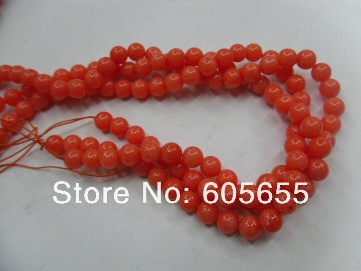 Морские бамбуковые оранжевые цвета 8 мм оранжевые круглые Коралловые бусы для модных ювелирных изделий 10 нитей в партии