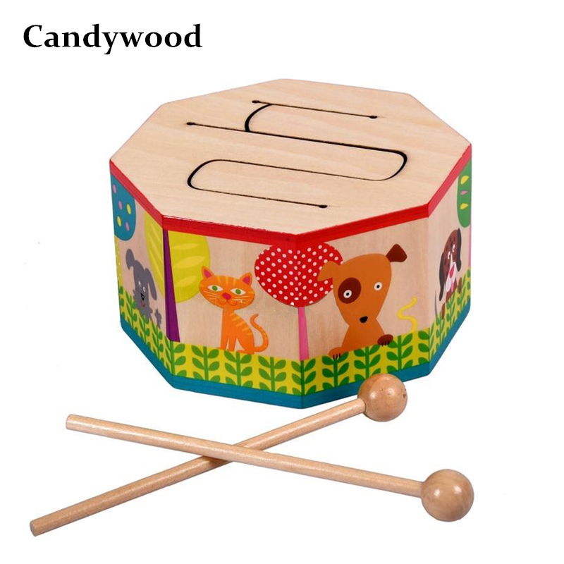 Kids Toys Wooden Drum For Early Education Musical Toys For Children Drum Musical Instruments For Baby Gift Wooden Toys
