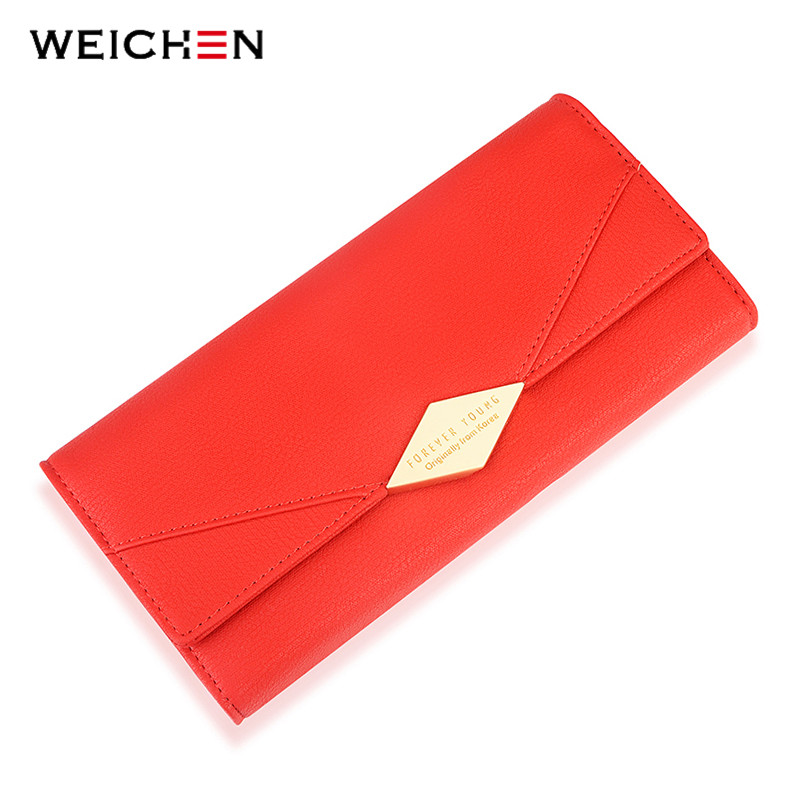 WEICHEN Brand Geometric Women Wallet Large Capacity Long Card Holder Phone Pocket PU Leather Lady Clutch Female Wallets Carteira weichen latest pu leather zipper