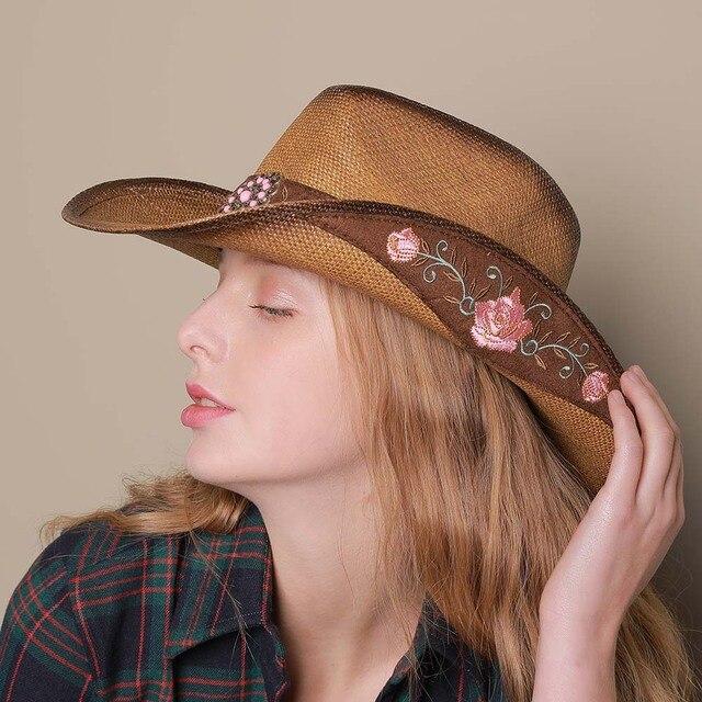 Paja de las mujeres Sombrero de vaquero occidental verano elegante señora vaquera  Sombrero Hombre gorras con 0de48e29c0f