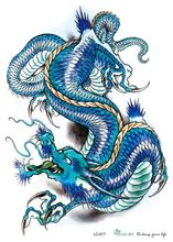 LC2817 21x15cm 3D Large Big Tatoo Sticker Sketch Blue Chinese Dragon Painting Designs Cool Temporary Tattoo Stickers