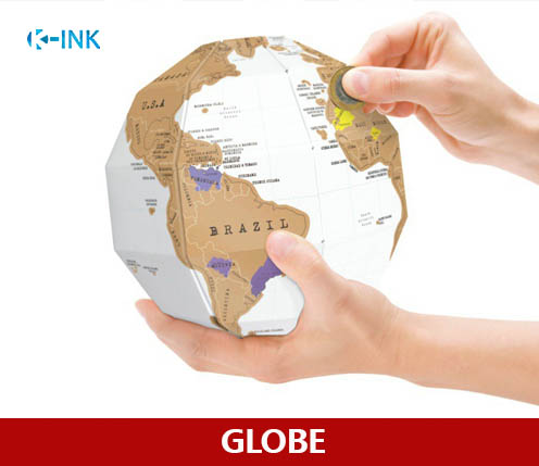 Creative Scratch Globe , DIY 3D Scratch Tellurion as Travelling Worldwide Map for Geography Teaching