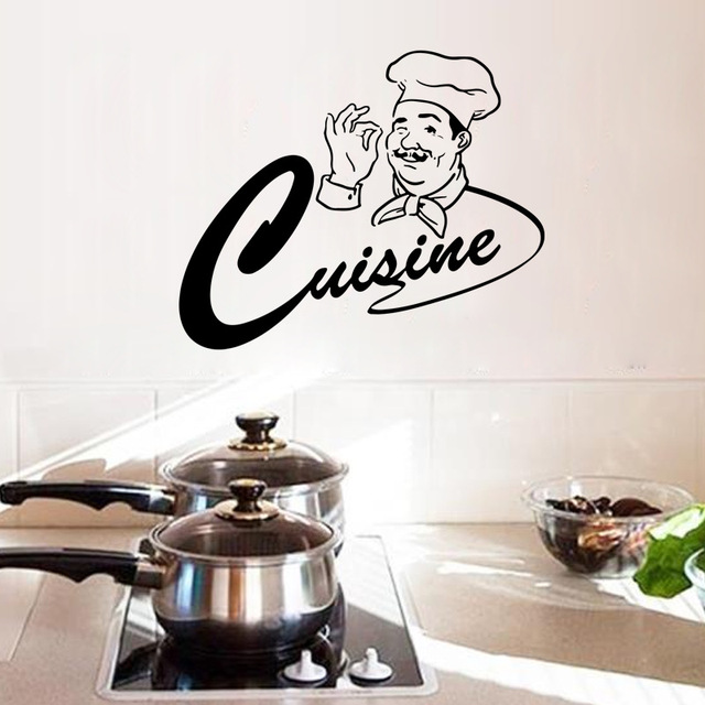 Happy Master Chef Kitchen Room Wall Stickers Home Decor Cuisine Monogram  Wall Decal Dining Room Wallpaper