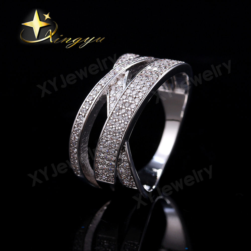 Gold Color Plated/Rhodium Many Small White Shinning Brilliant CZ Hollow Out XX Rings for Women Free Shipping Gift SaleXYR101190