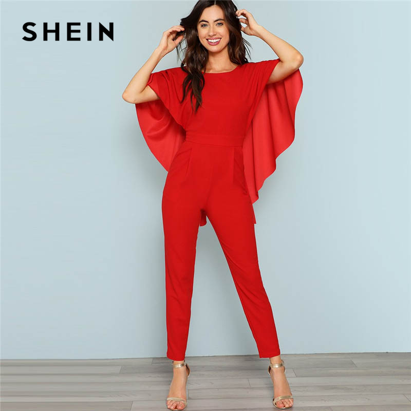 SHEIN Red Backless Open Shoulder Solid Cape Jumpsuit Elegant Cloak Sleeve Stretchy Jumpsuits Women Autumn Highstreet Jumpsuit 2