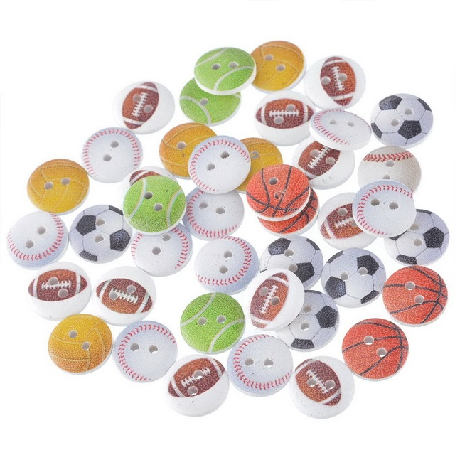 Funique 100pcs Mixed 15mm Decorative Wooden Buttons 2 Holes Sport Ball Football Soccer Teneis Baseball Crafts And Scrapbooking In Buttons From Home