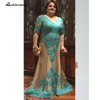 Champagne Lace Mother of the Bride Dresses Plus Size With Short Sleeves Mermaid Evening Gowns Long Formal Dresses