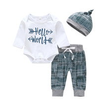 3pcs=1set Baby Boys Clothes Kid Girl Letter Printed baby Clothing Set Cotton Infant Long Sleeve Romper Tops Pant Hat sets(China)