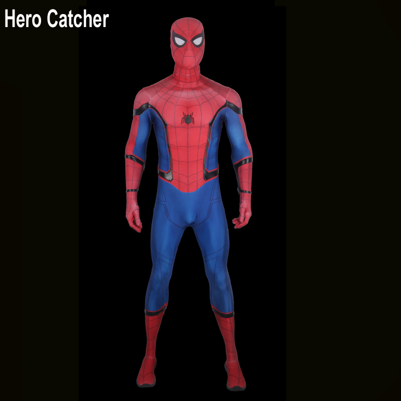 Hero Catcher High Quality 2017 Spiderman Costume Tom Holland Spiderman Suit With 3D Logo 3D Print Homecoming Spiderman Costume