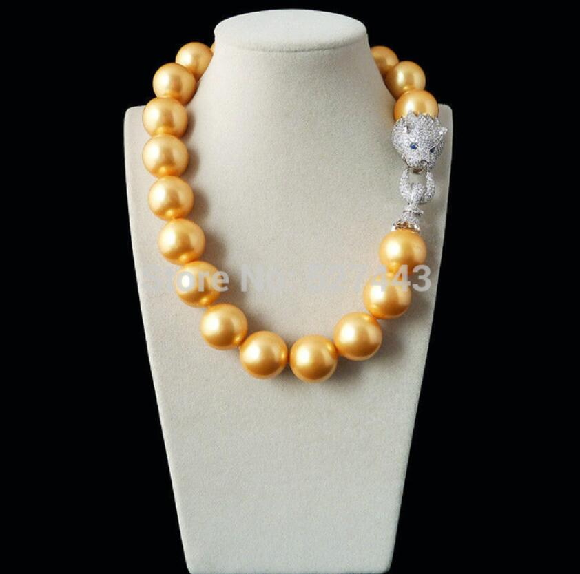 Natural 20mm gold yellow shell pearl inlay zircon leopard head LUXURY necklaceNatural 20mm gold yellow shell pearl inlay zircon leopard head LUXURY necklace