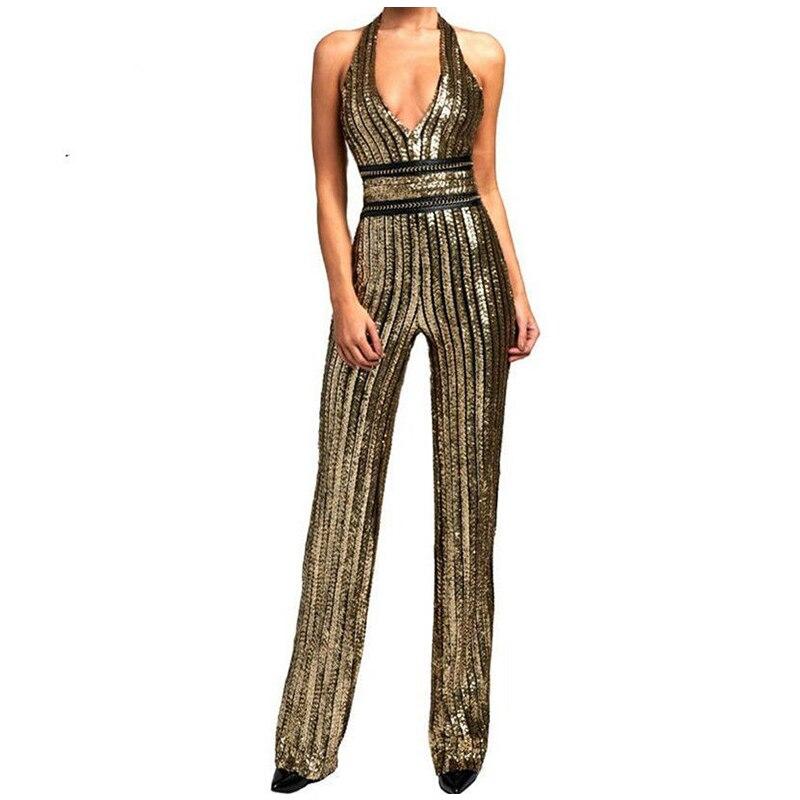 Fashion Women gold sequin sexy bodysuit backless bodysuit jumpsuit catsuit summer jumpsuit leotard long gold sequin jumpsuit