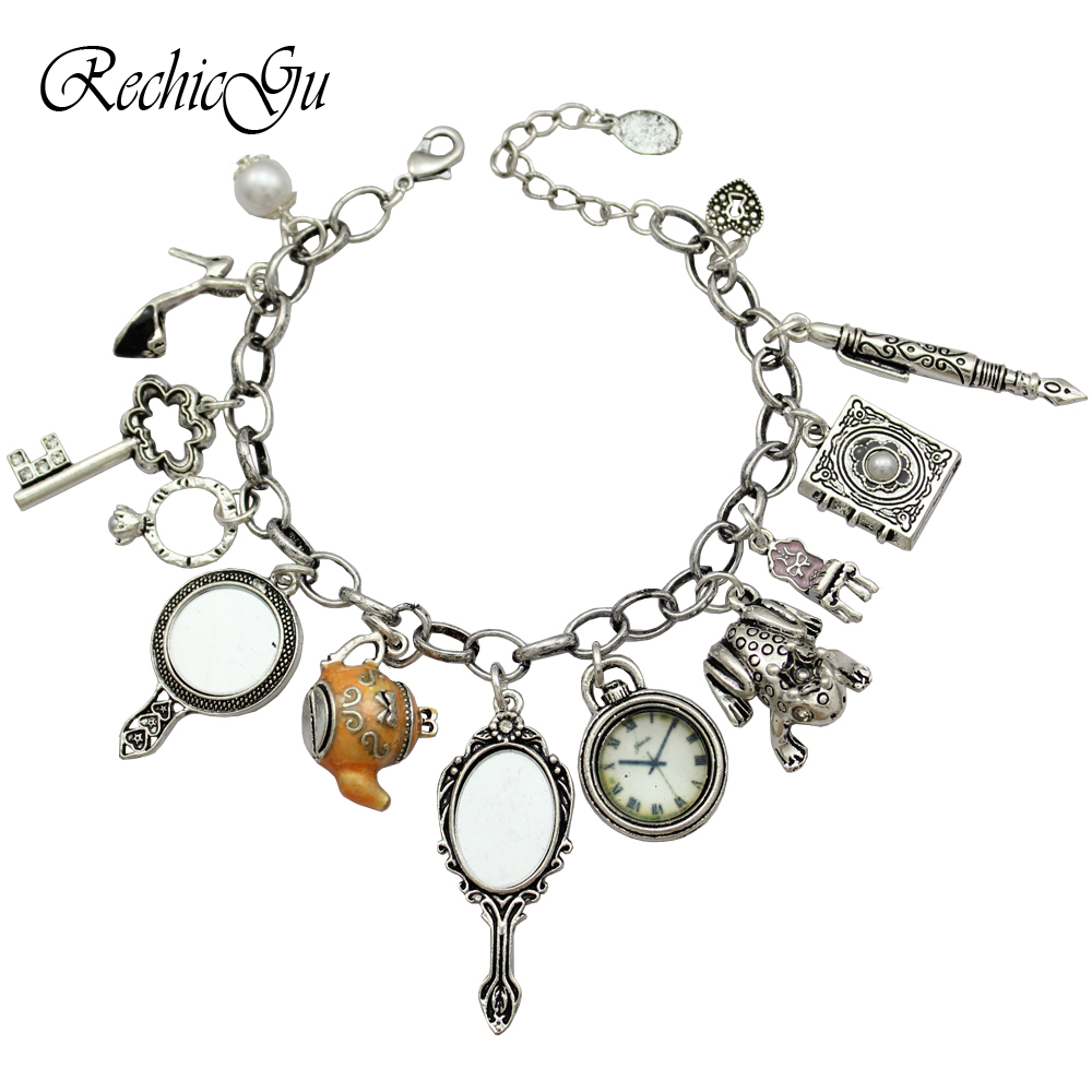 Alice in Wonderland Mirror Charms Beads Cinderella Narnia Chain Crystal Bangle Bracelets For Women Pulseira Masculina Jewelry pulseira masculina buddha bracelets silver tone link chain bracelets bangle for mens jewelry gift good quality free shipping