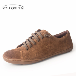 Image 1 - Men casual shoes mens genuine leather flat sneakers luxury brand flats shoes lace up loafers moccasins men footwear 2020