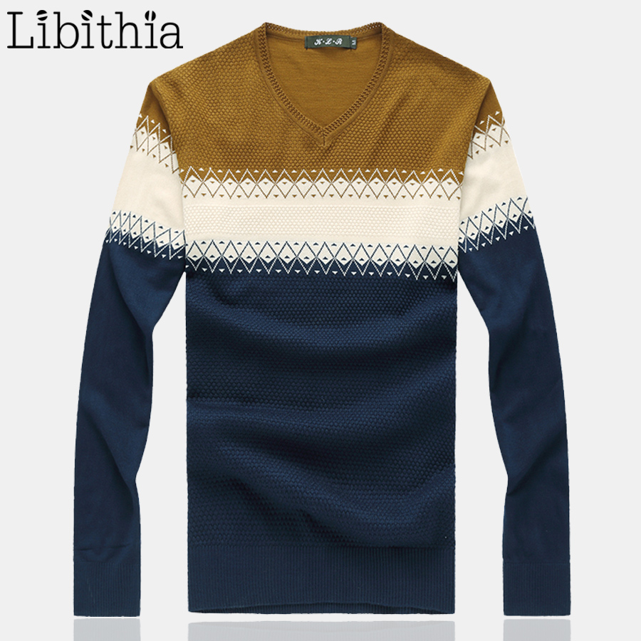 Men Wool Sweaters Solid Colors Patterns Pullover V Neck Luxury Sweter Hombre Clothing Bl ...