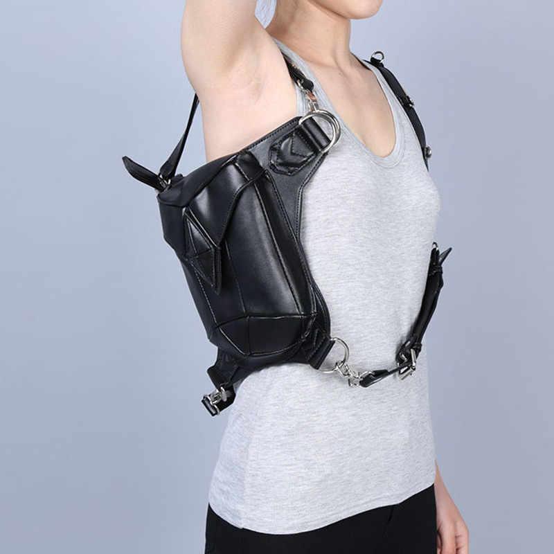 ショルダーリュック革女性バッグスチームパンクバッグホルスター財布carteras mujerバッグ太ももモーター脚アウトローパックポケットファニーパック