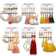 Manxiuni 6 Bohemian Earring Long Tassel Drop Earrings Set For Women Girl 2019 Fashion Geometric Earring Cheap Brincos Female Jew цена