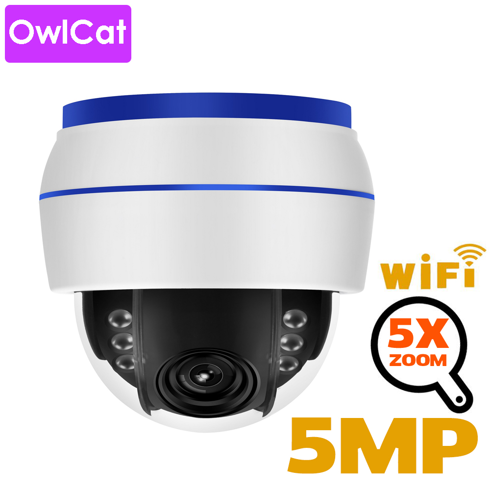 OwlCat Sony335 HD 5MP Dome IP Camera WiFi PTZ 5x Optical Zoom CCTV Video Surveillance Camera 128G SD Card Mic Sound Record Onvif
