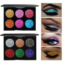 Brand HANDAIYAN Diamond Sequins Glitter Eye Shadow Palette Shiny Eyeshadow Palette 6 Colors Cosmetics To Face Makeup Palette