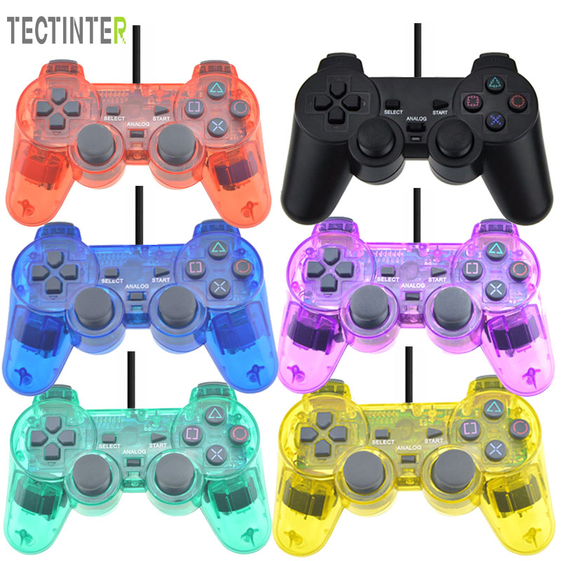 лучшая цена Wired Controller For Sony Playstation 2 Gamepad Double Vibration Clear Controle For Sony PS2 Joystick Hot Sale Transparent Color