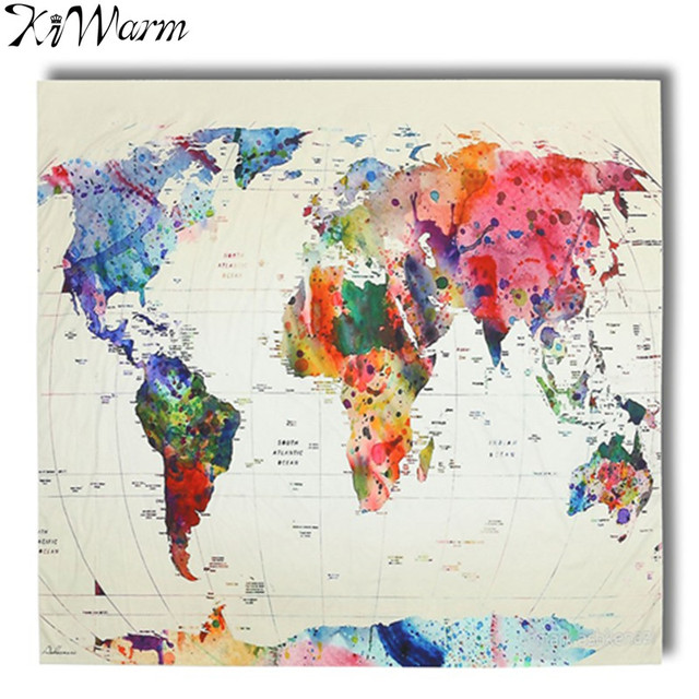 KiWarm Vintage World Map Polyester Wall Tapestry Indian Blanket - World map blanket