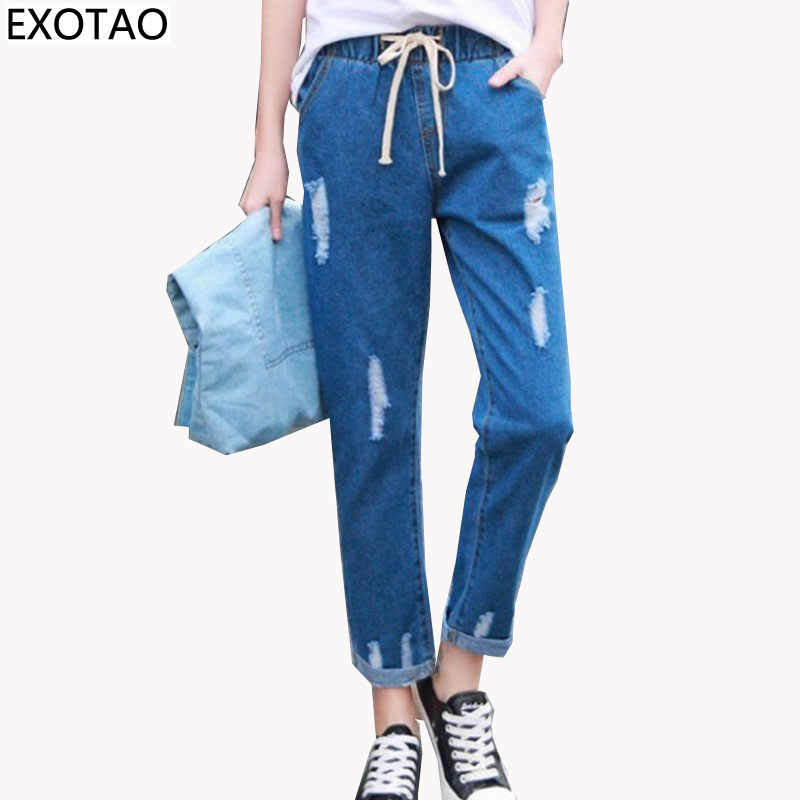 EXOTAO New Ripped Jeans for Women Bandage High Waist Denim Pants Female Harajuku Ankle-Length Pantalon with Pockets Jeans 2017 купить