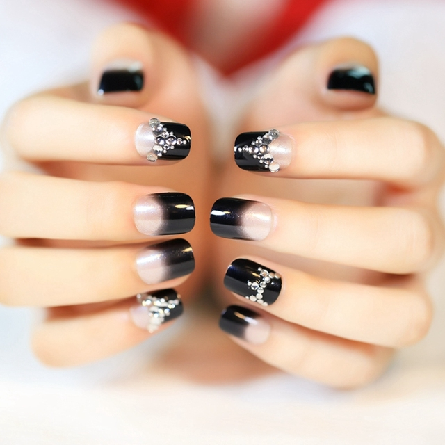 Shine Fake Nail Tips Black French Lady Nails Clear Moo Art Rhinestones Acrylic Decoration