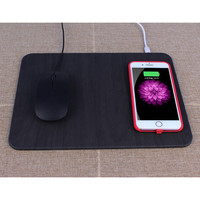 5W Wireless Charging USB PU+Wooden Mouse/Mice Pad For PC Laptop 30x22CM Dropshipping April18