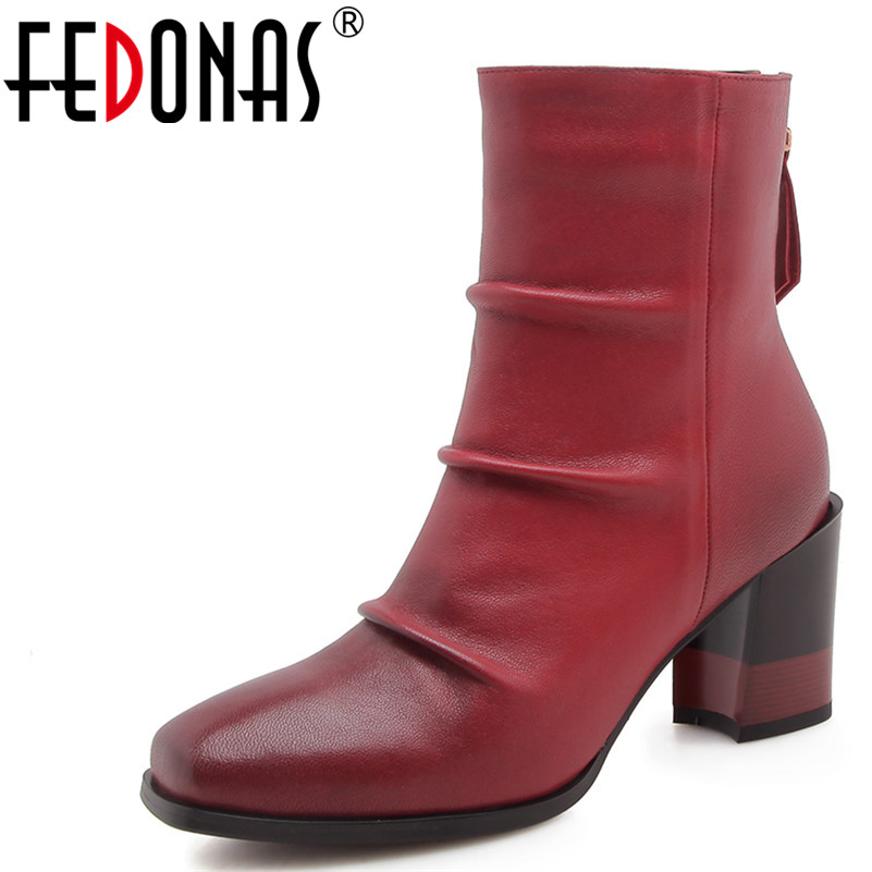 FEDONAS 1New Women Ankle Boots Genuine Leather Autumn Winter Warm High Heels Shoes Woman Round Toe Quality Elegant Martin Boots high quality full genuine leather boots round toe buckle autumn winter riding martin boots punk women ankle boots
