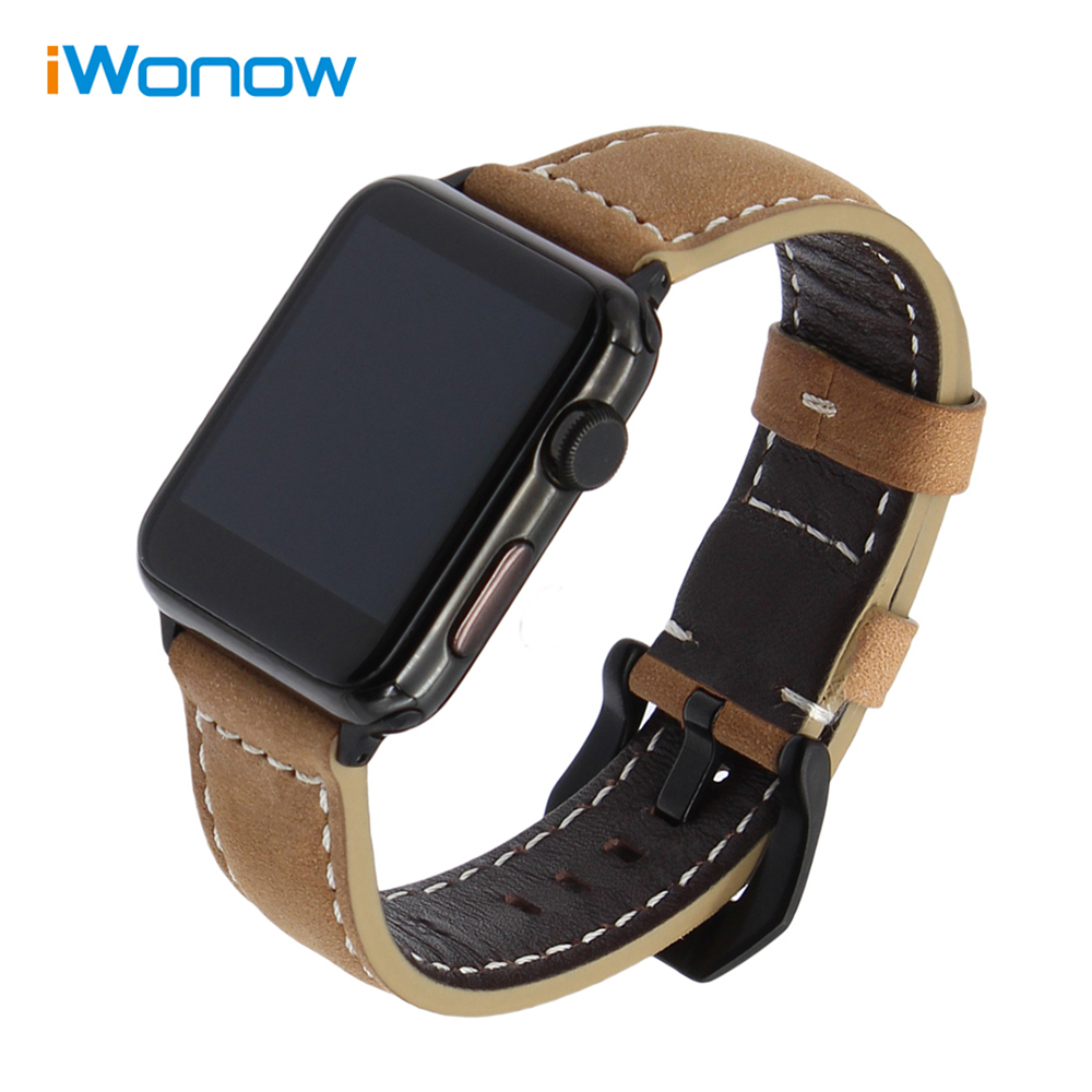 Imported Vintage Leather Watchband for iWatch Apple Watch 38mm 42mm Series 1 & 2 Wrist Band Stainless Steel Clasp Strap Brown 6 colors luxury genuine leather watchband for apple watch sport iwatch 38mm 42mm watch wrist strap bracelect replacement