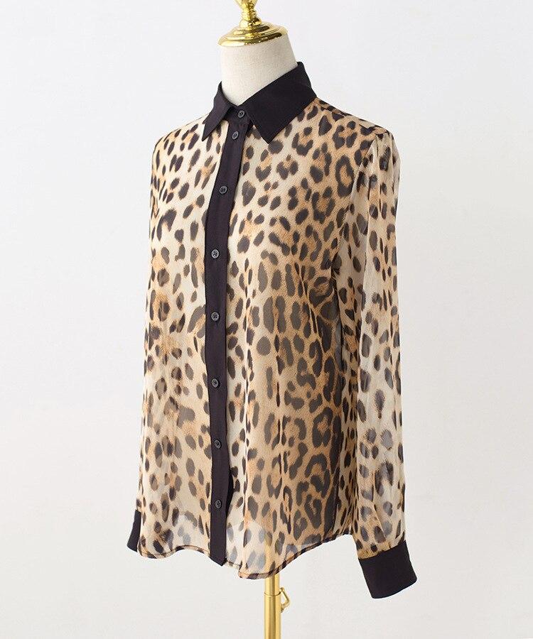 Женские шифоновые рубашки с леопардовым принтом, весна лето 2019, сексуальные рубашки и блузки G155 - 6