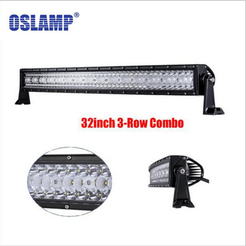 Oslamp 32 LED Car Light Bar 3 Row 360W Offroad Driving Combo Beams fit Pickup Tractor Truck SUV ATV 4X4 Wagon jeep