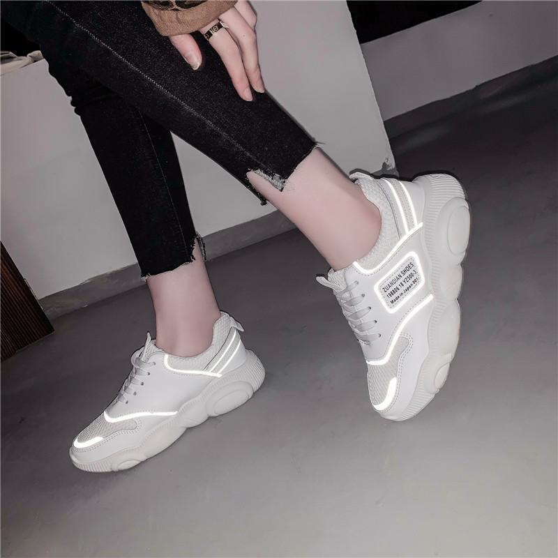HKJL Sports shoes2019 spring new all in one bear sole fluorescent upper breathable small white running shoes A603 in Women 39 s Vulcanize Shoes from Shoes