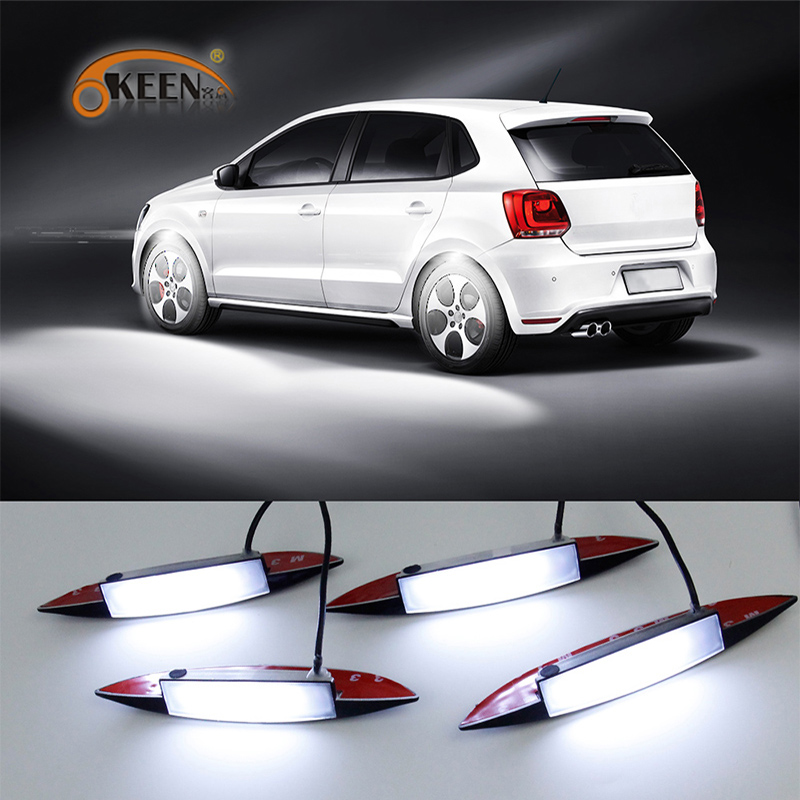 OKEEN 4pcs Underglow Car Atmosphere Lights White Colors LED Car Wheel Well Neon Glow Lights Fender Under Side Lamp 3 Modes