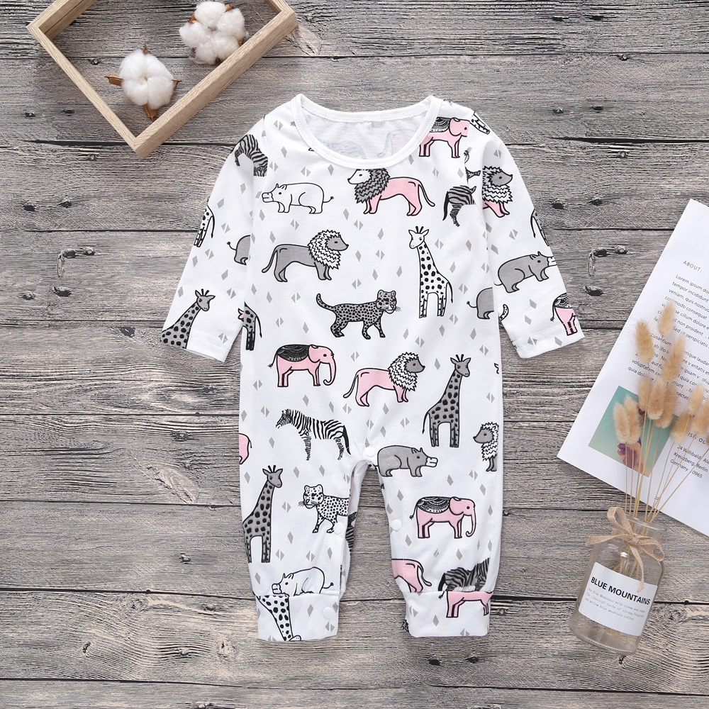 2018 New Newborn Baby Boys Girls   Romper   elephant Printed Long Sleeve Winter Cotton   Romper   Kid Jumpsuit Playsuit Outfits Clothing