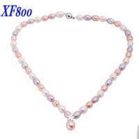 XF800 NEW DESIGN Natural Pearl Chokers Necklaces 7 8mm Mix Color Drop Shape Pearl Necklace For